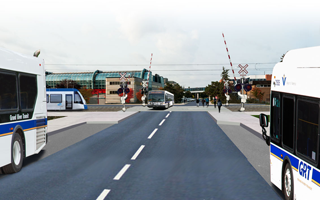 Conceptual drawing showing buses, train at proposed UWaterloo station