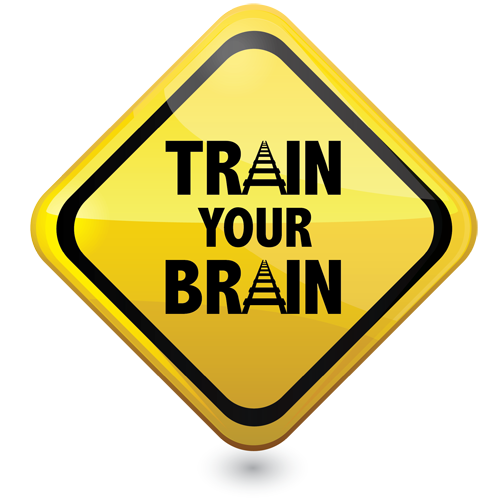 Yellow diamond sign with train your brain text