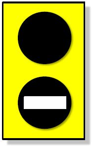Yellow rectangle with two black circles, white dash