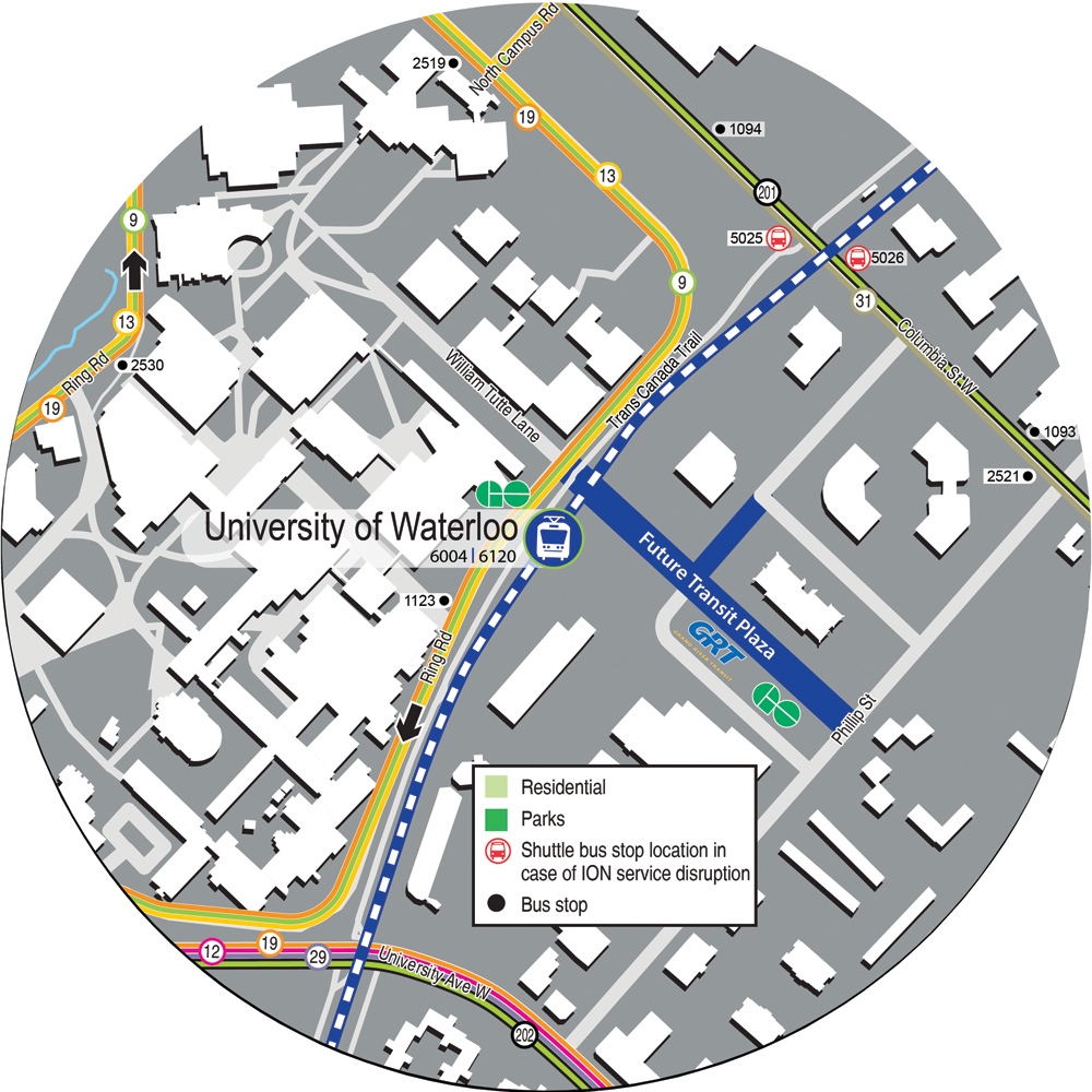 Map showing 5 minutes' walk from UW Station