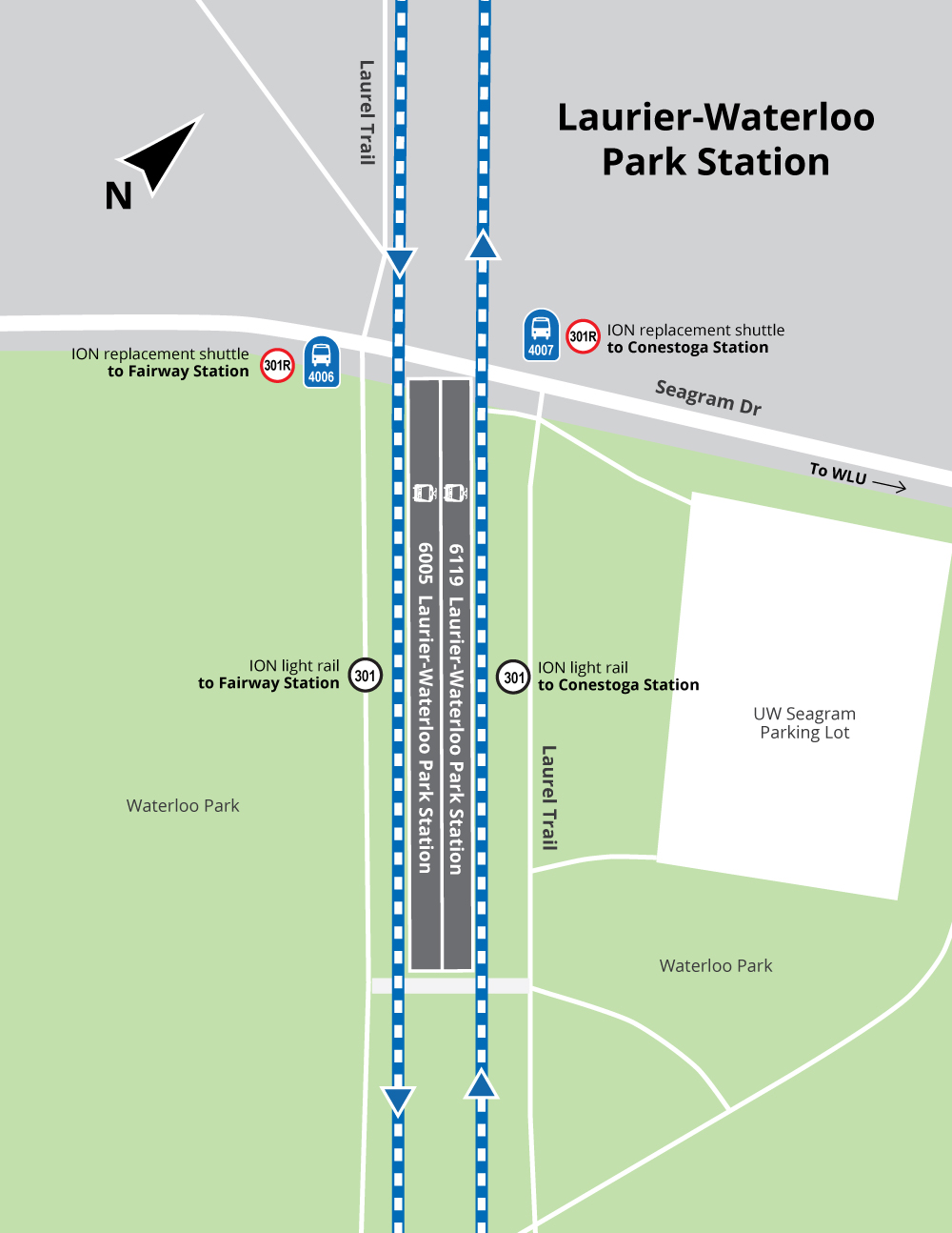 Map of trail connections at Laurier-Waterloo Park Station