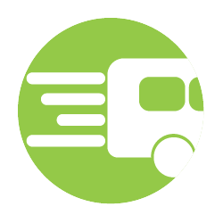 Icon showing bus travelling fast