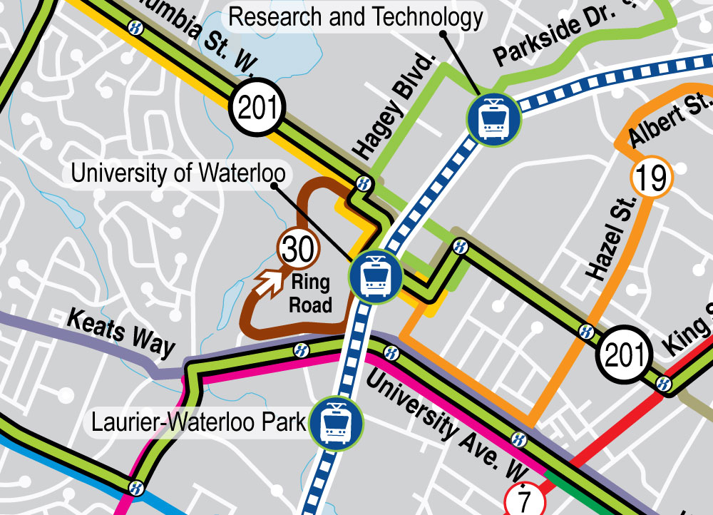 Map of proposed bus routes around University of Waterloo Station