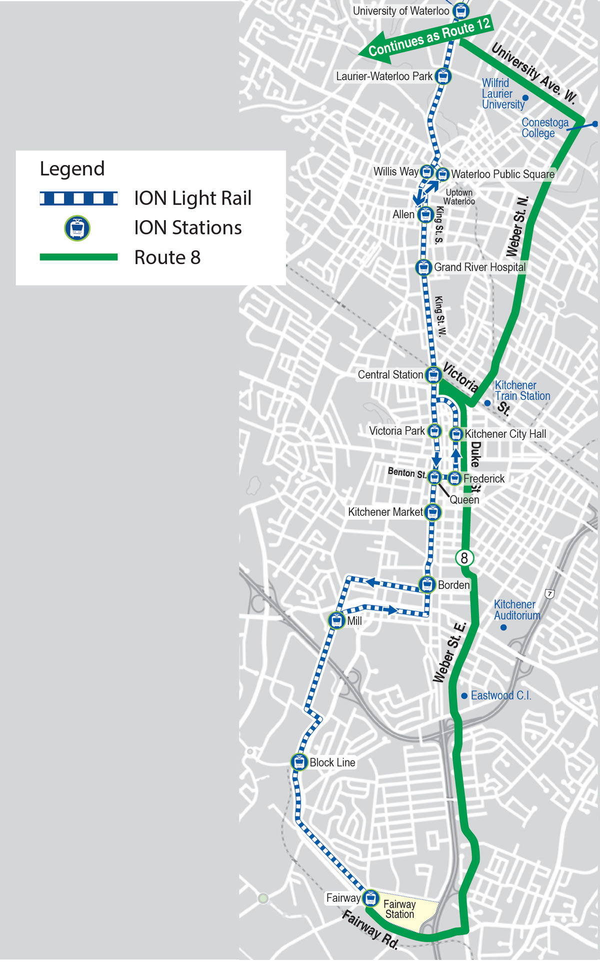 As Route Map Bus service changes for ION launch   Grand River Transit