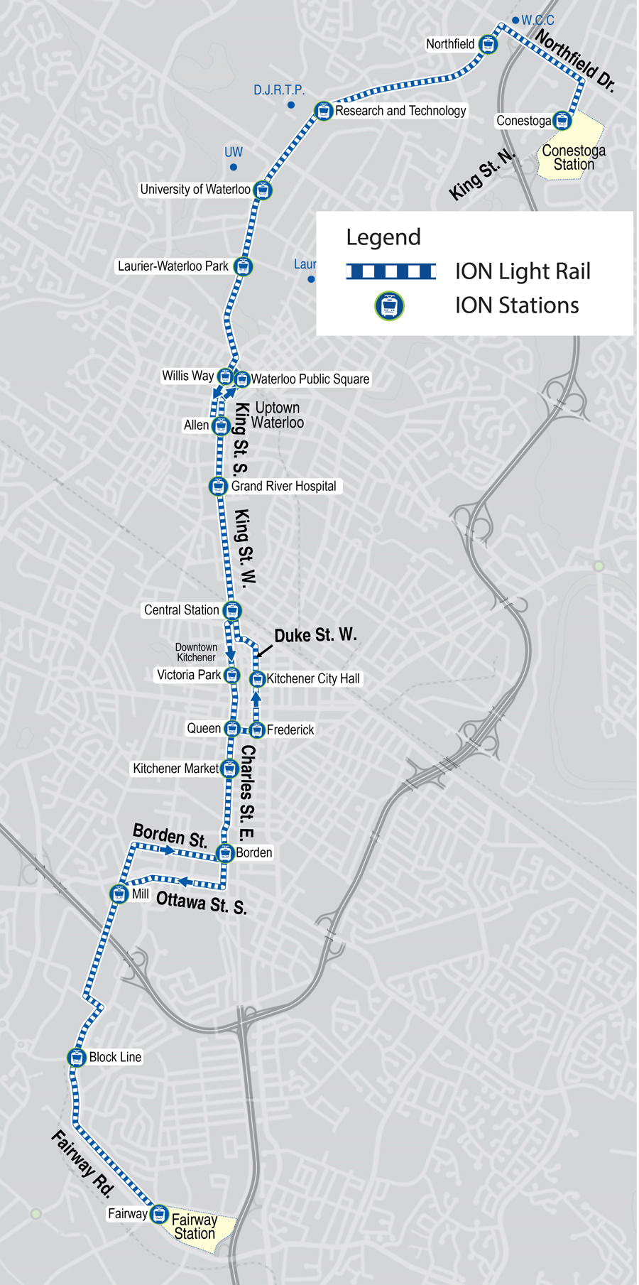 Mpa of the ION light rail route