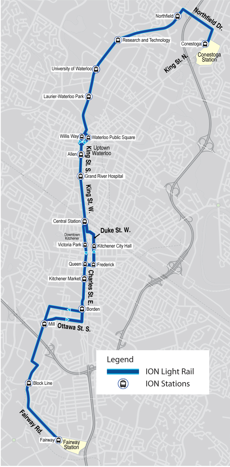 Map of ION light rail