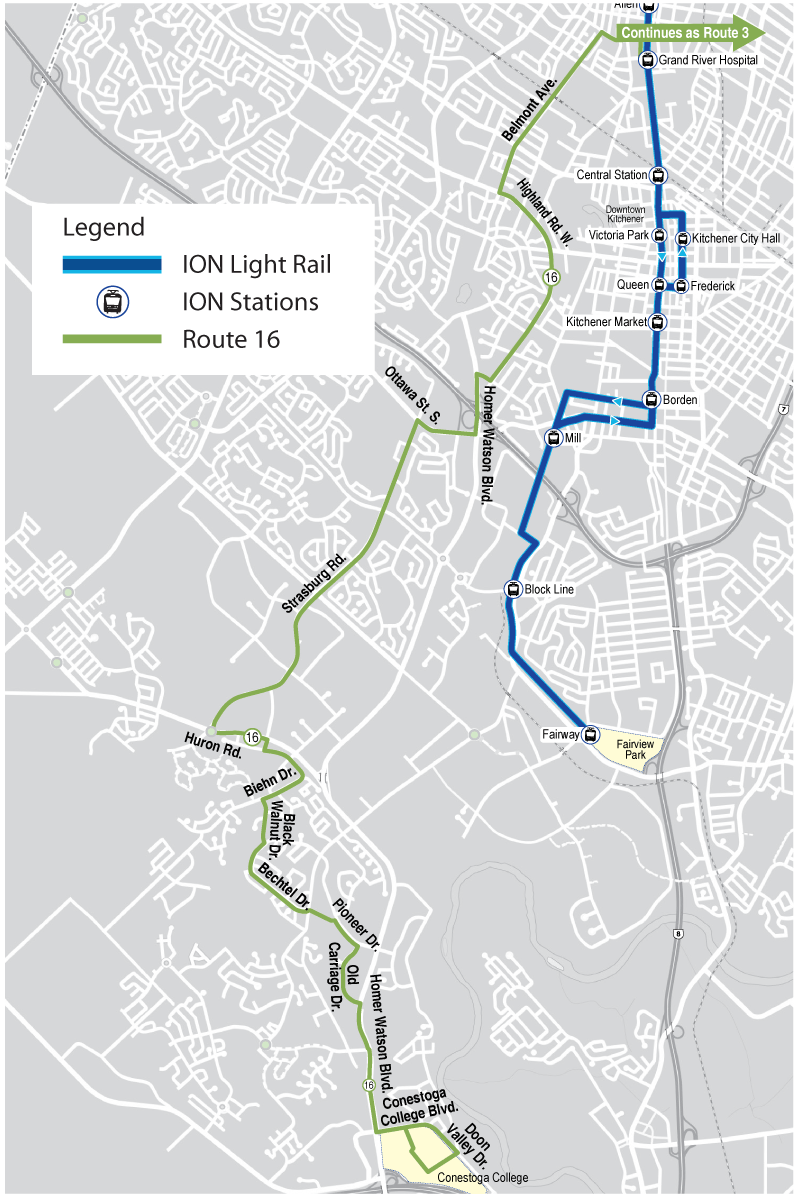 Map of proposed Route 16