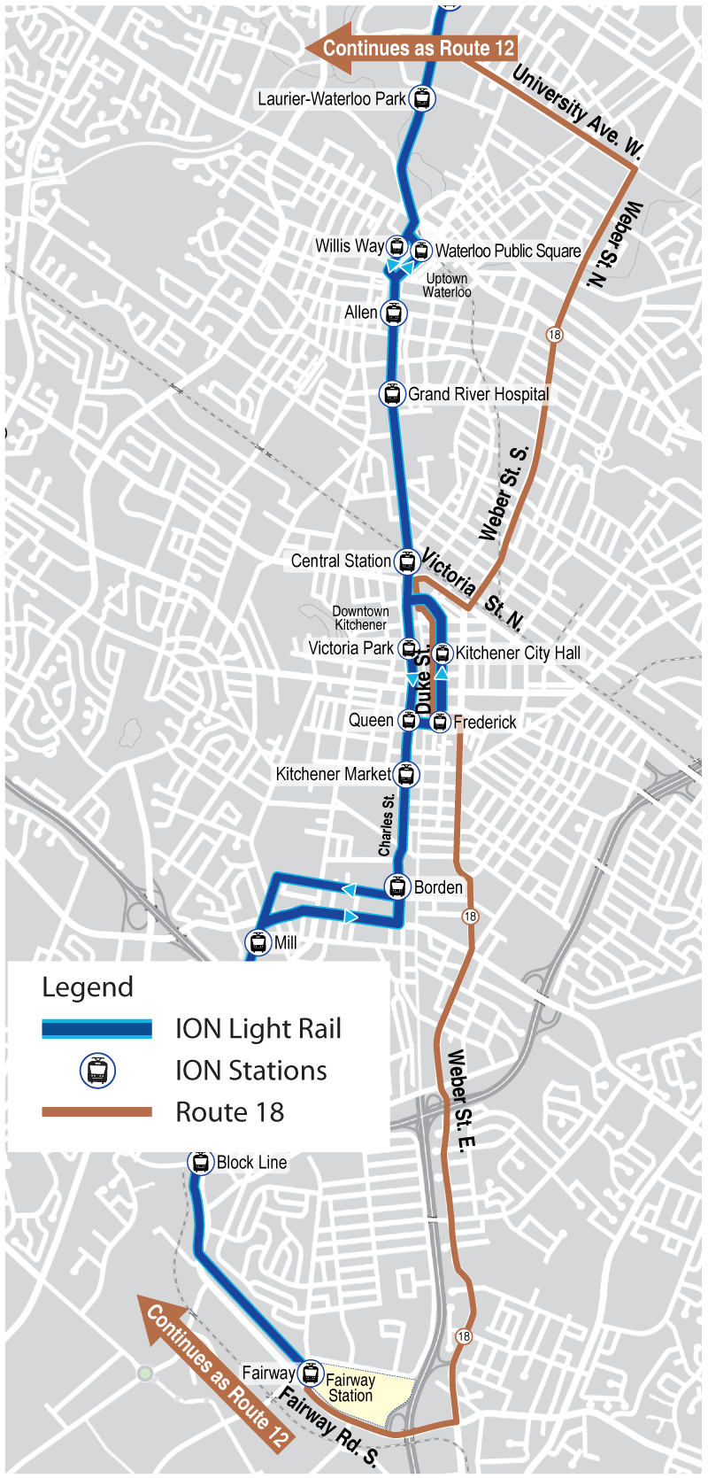 Map of proposed Route 18
