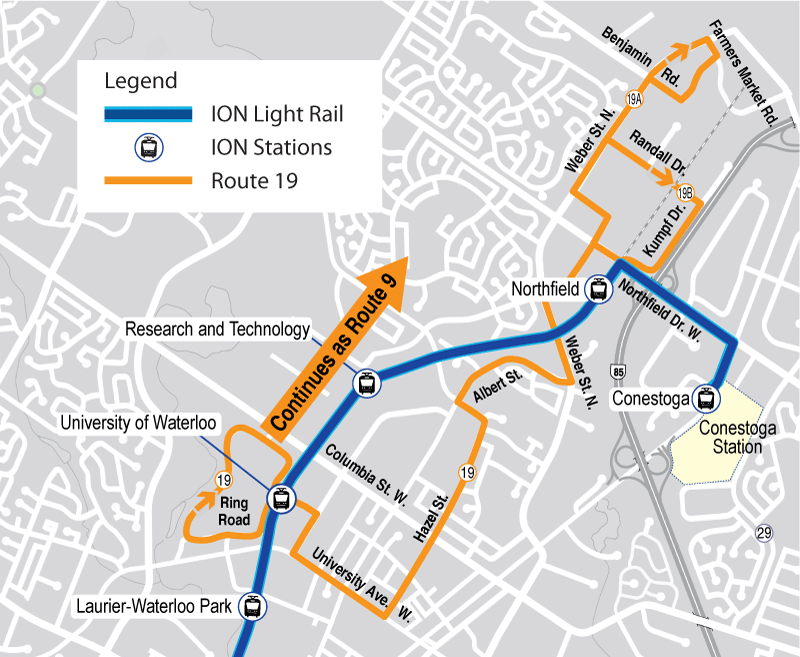 Map of proposed Route 19