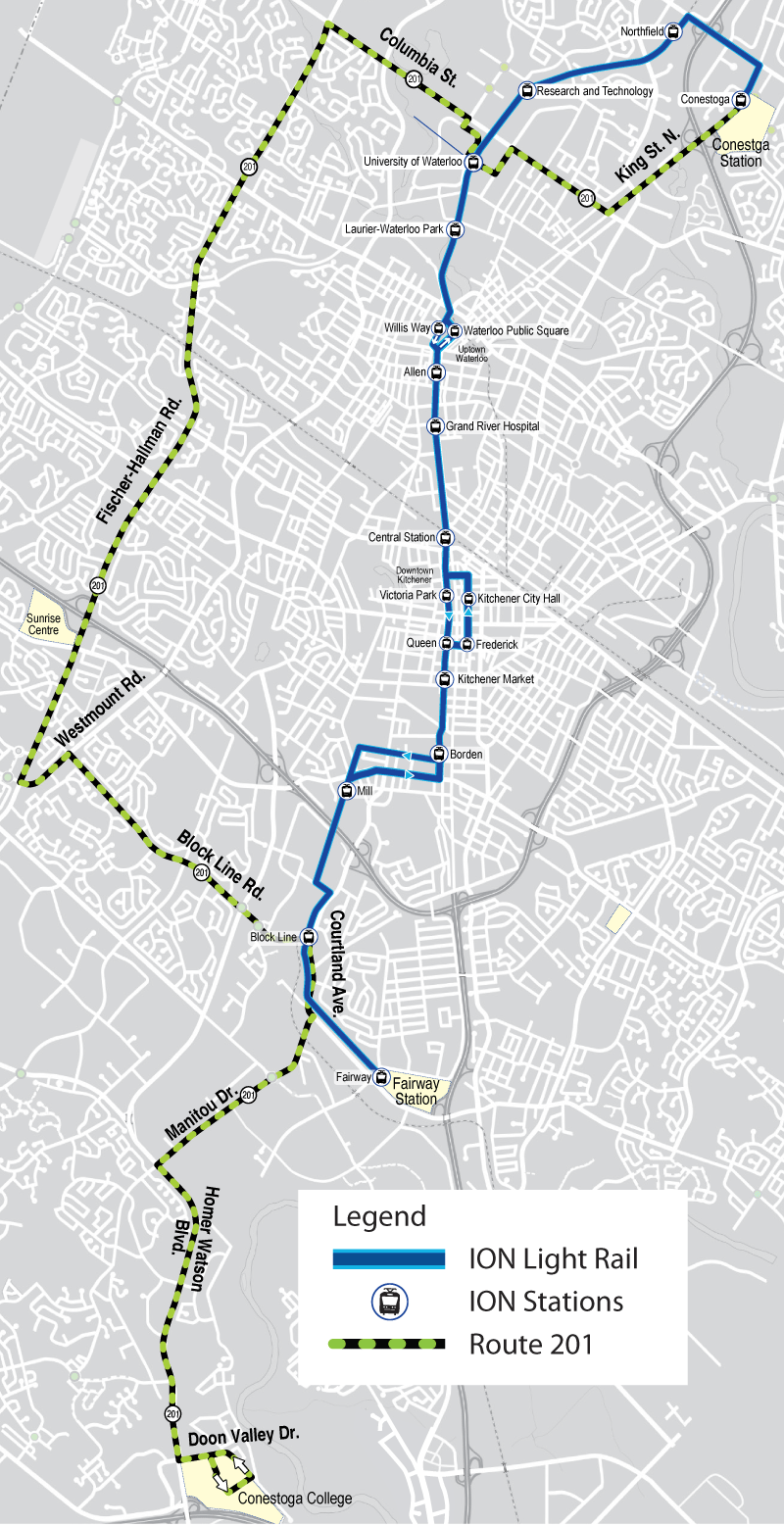 Map of proposed Route 201