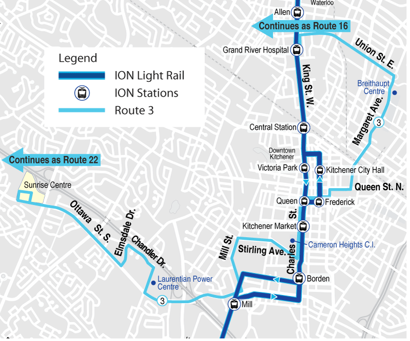 Map of proposed Route 3