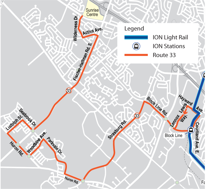 Map of proposed Route 33