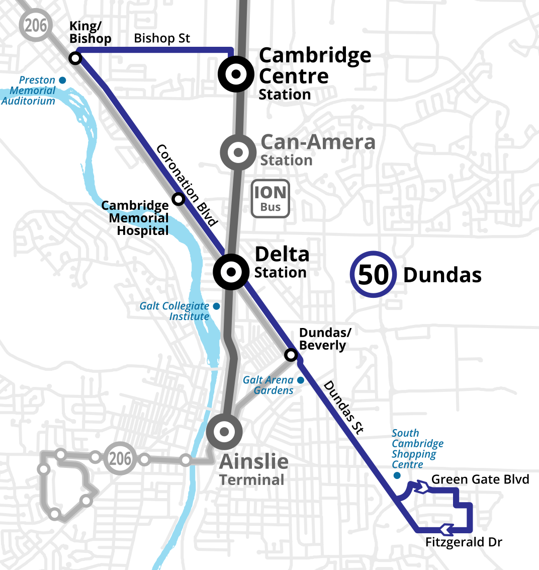 Map showing the proposed routing of the new 50 Dundas