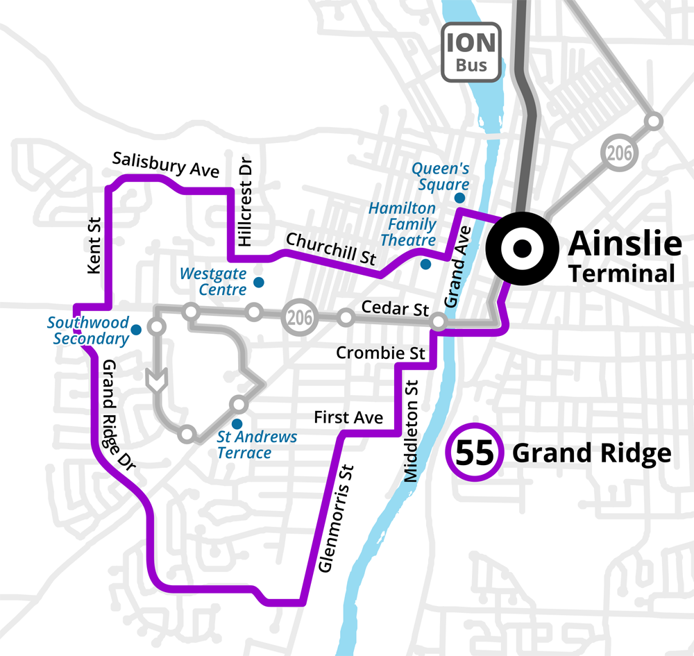 Map of the proposed revised Route 55 Grand Ridge