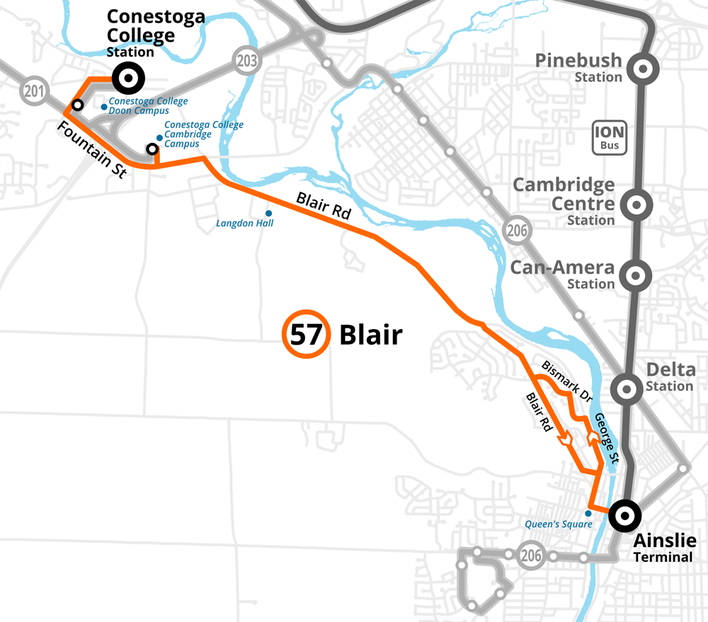 Map of the revised Route 57 Blair