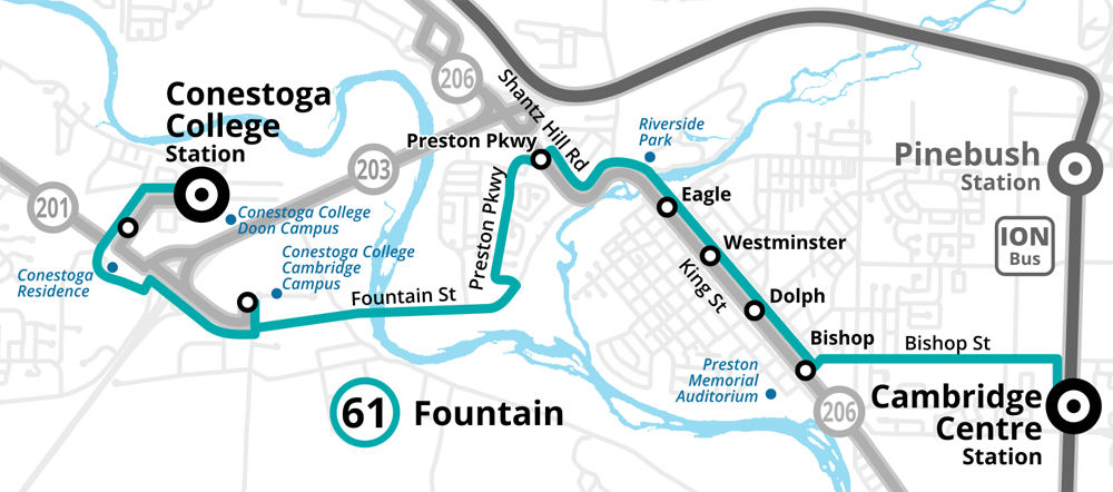 Map of the revised Route 61 Fountain