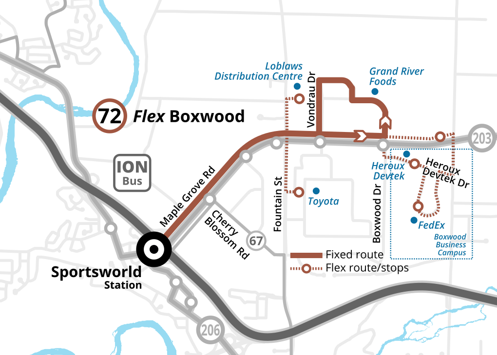 Map of the revised Route 72 Flex Boxwood