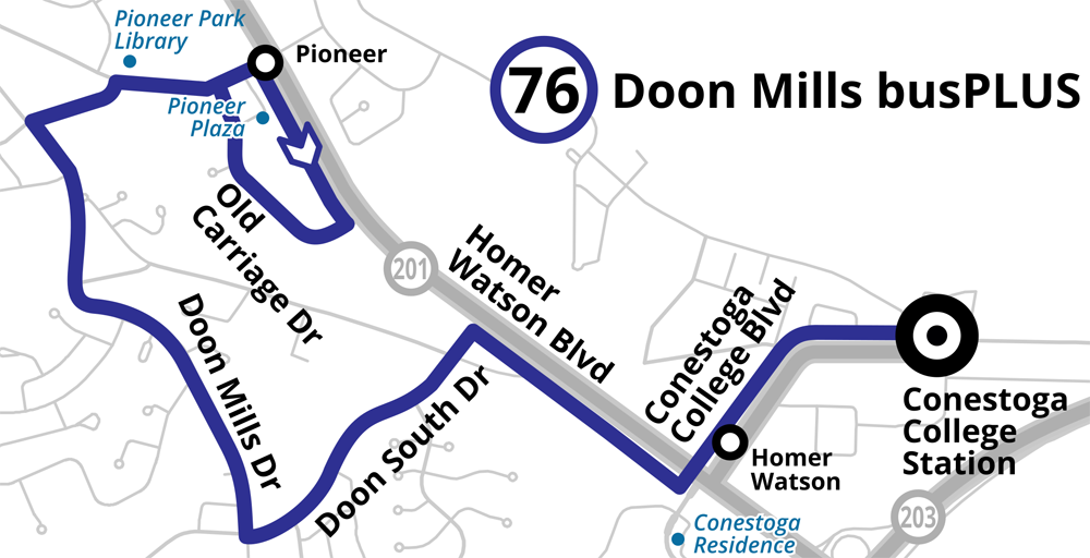 Map of the proposed Route 76 Doon Mills busPLUS