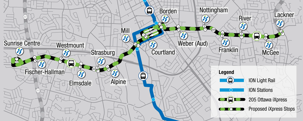 Map of the proposed Ottawa iXpress route