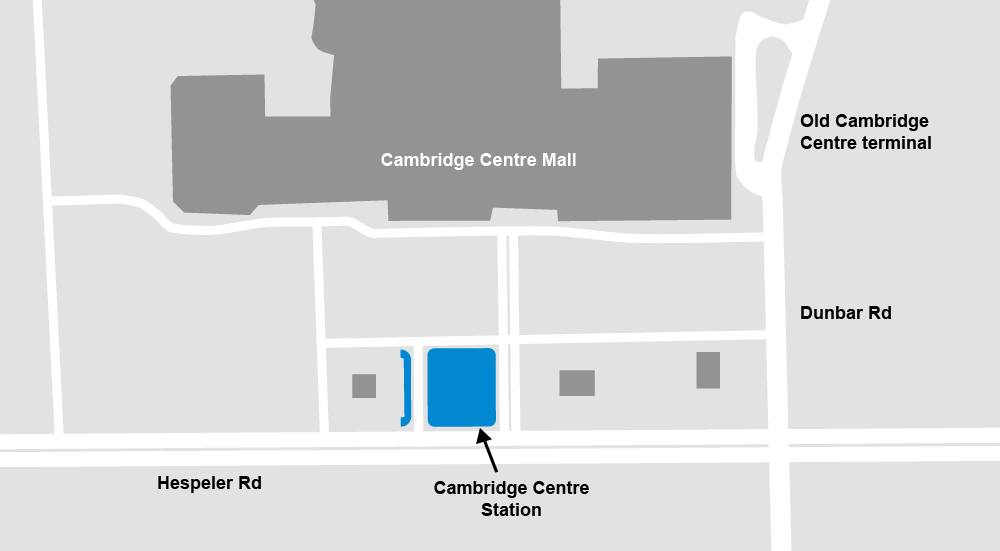 Map showing location of Cambridge Centre Mall and new and old stations