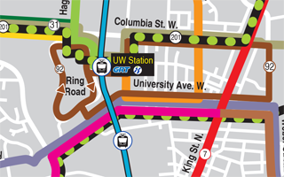 Section of 2021 transit map showing UW Station