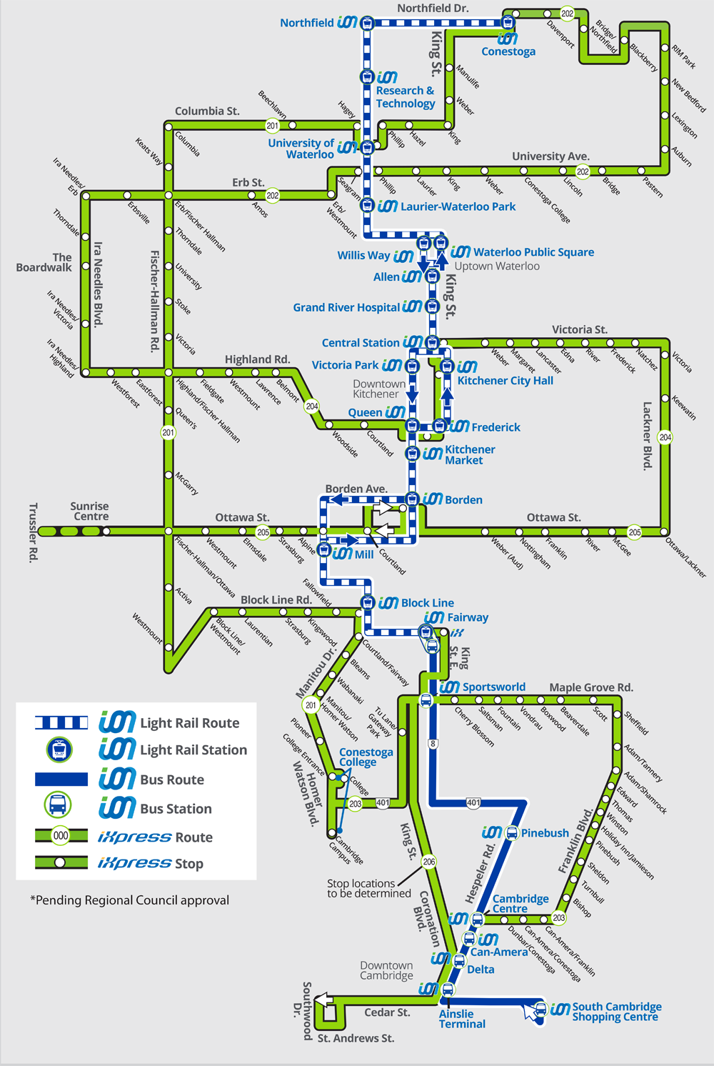 Map showing how iXpress routes will integrate with ION light rail by 2021