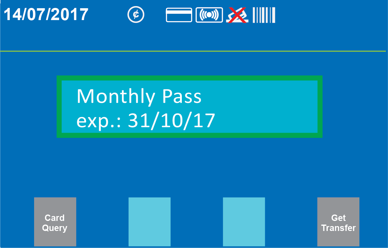 Customer screen showing monthly pass payment and expiry