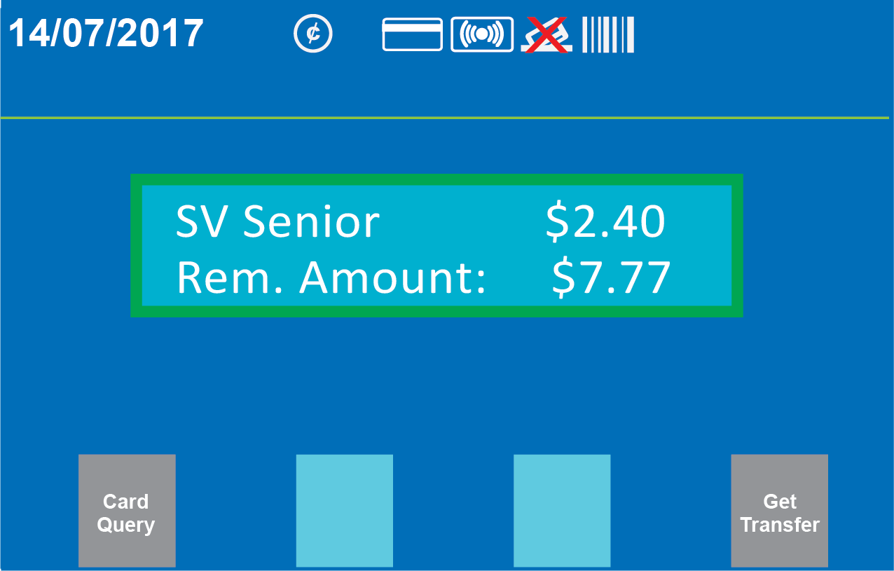 Farebox customer screen showing stored value payment and remaining balance