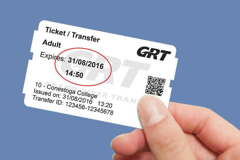 Hand holding ticket/transfer with expiry date/time circled in red