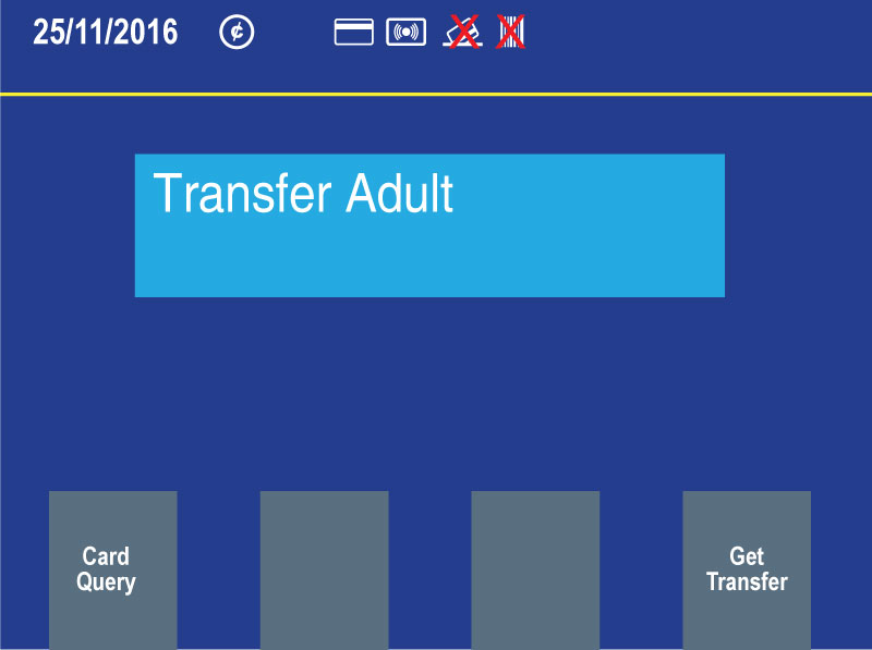 "New farebox customer display showing ""Transfer adult"" message"