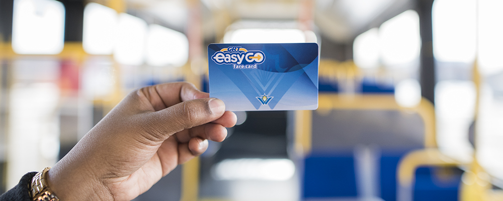 Hand holding the EasyGO fare card