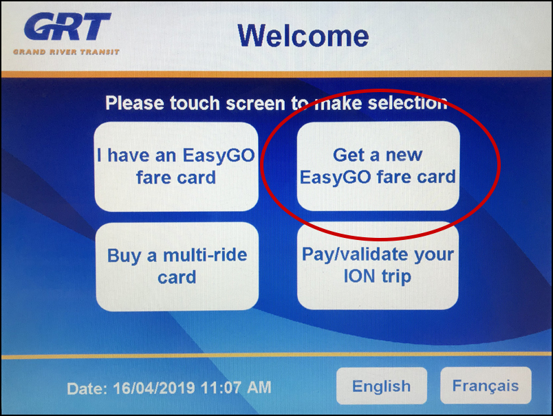 Welcome screen of the fare vending machine