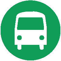 Green circle with white bus icon