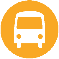 Orange circle with white bus icon