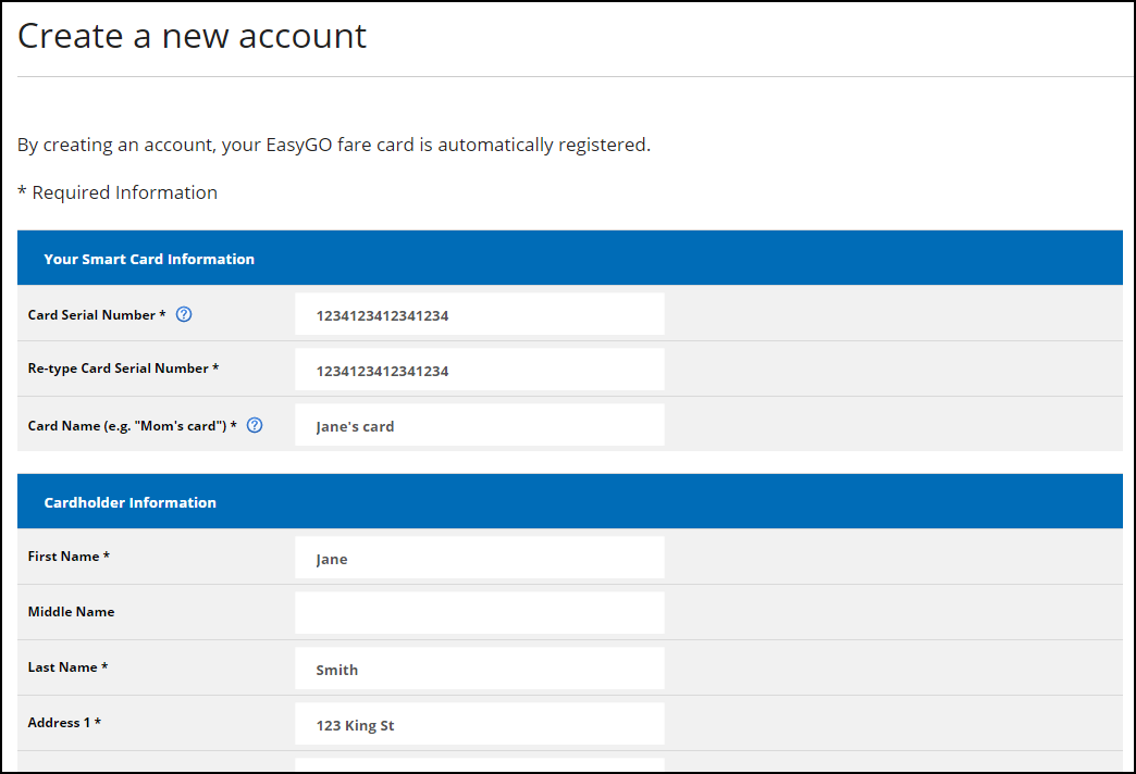 Screenshot of create a new account page