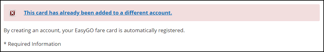 Screenshot of error card already registered to another account