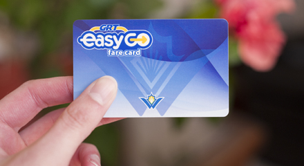 Hand holding EasyGO fare card