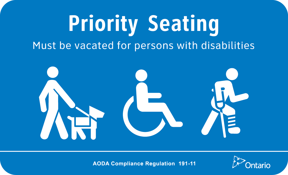 Blue priority seating decal with icons of guide dog, wheelchair, crutches