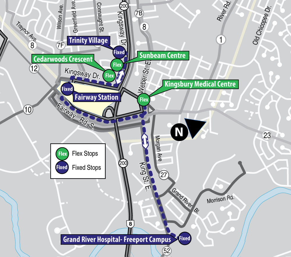 Map showing stop locations for 901 Flex Trinity-Freeport