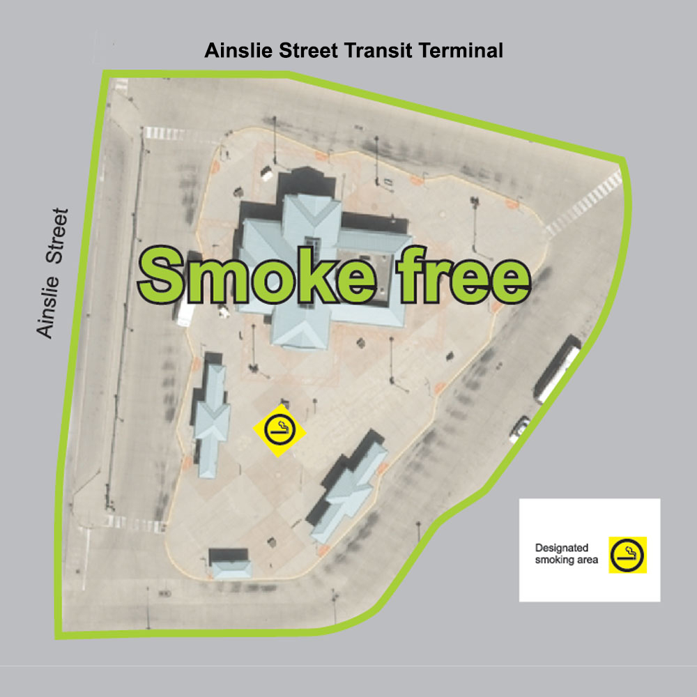 Map showing smoke-free and designated smoking areas at Ainslie Street Terminal.
