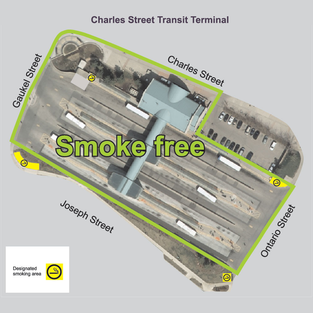 Map showing smoke-free and designated smoking areas at Charles Street Terminal.