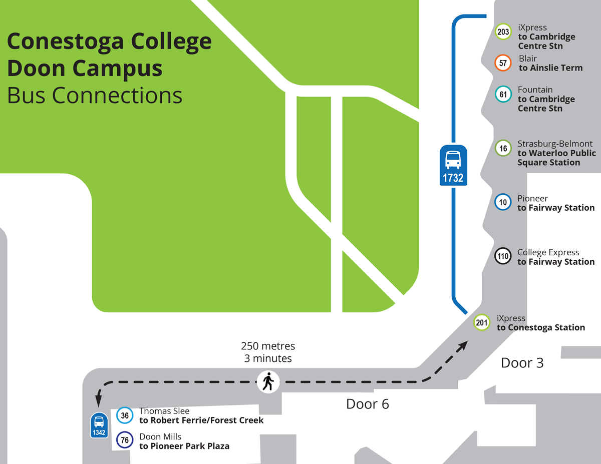 Map of stops at Door 3 at Conestoga College