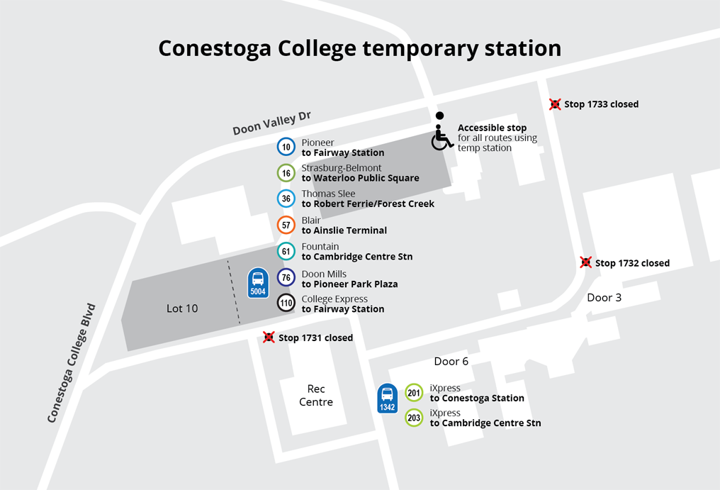 Map of temporary stop locations for Conestoga College students