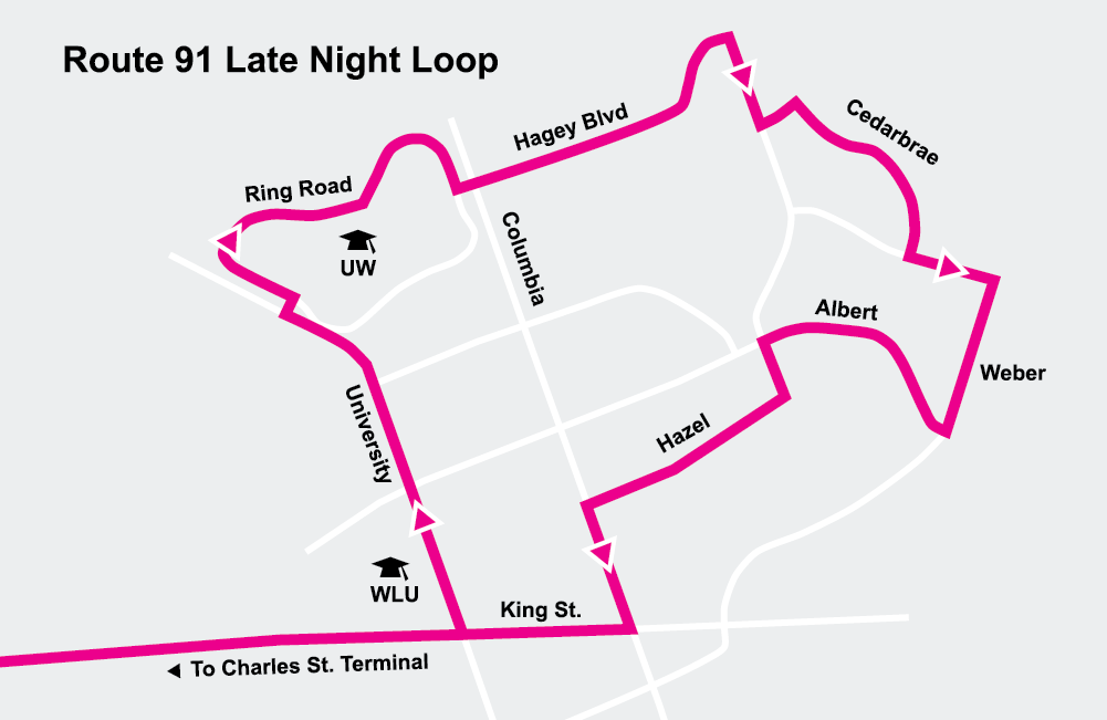 Map of Route 91 late night loop